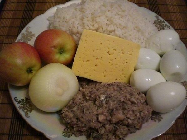 мимоза с яблоком рецепт с фото