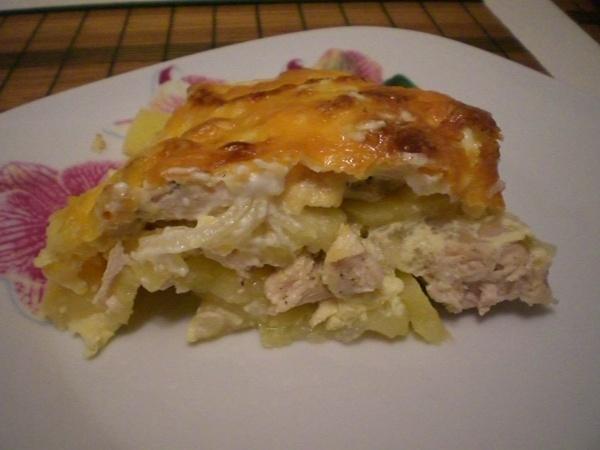 запеченная картошка с курицей с сыром
