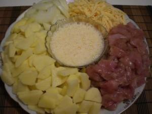 Продукты для картофеля запеченного с мясом курицы под сыром