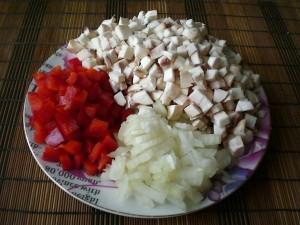 Грибы, сладкий перец, лук