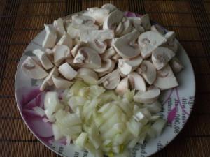 лук и грибы на грибной постный суп