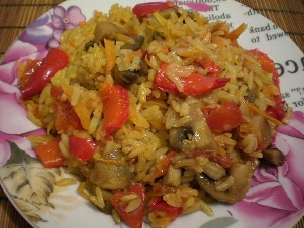 Плов с грибами и овощами рецепт с пошагово