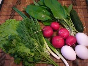 продукты для весеннего салата с черемшой