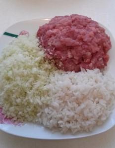 фарш, рис, капуста